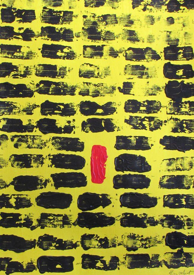 Alan Velvet, European Visual Artist, Red Balken, 2016 - Acryl on Paper - 29,7x42cm
