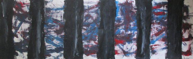 Alan Velvet, European Visual Artist, Look through put forward Balken - Acryl on Paper - 60x189cm