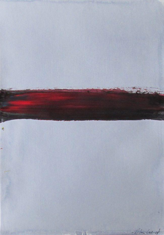 Alan Velvet, European Visual Artist, Black Red Balken, 2016 - Acryl on Paper - 29,7x42cm