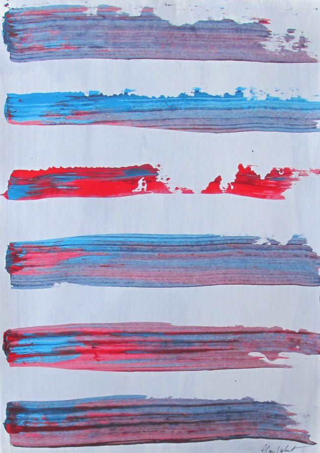 Alan Velvet, European Visual Artist, Red blue stripes, 2016 - Acryl on Paper - 29,7x42cm