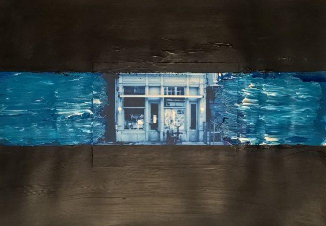 Alan Velvet, European Visual Artist, Streets of Antwerp #2, 2016 - Mixed media on paper - 29,7x42cm