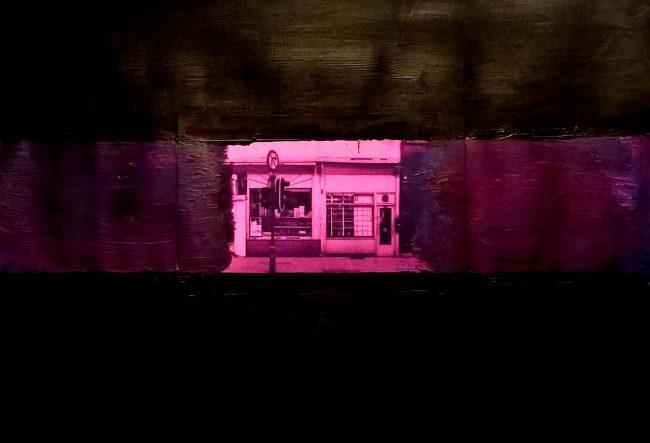 Alan Velvet, European Visual Artist, Streets of Antwerp #4, 2016 - Mixed media on paper - 29,7x42cm