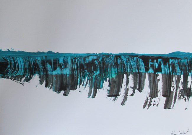 Alan Velvet, European Visual Artist, Balken vague, 2016 - Acryl on Paper - 29,7x42cm