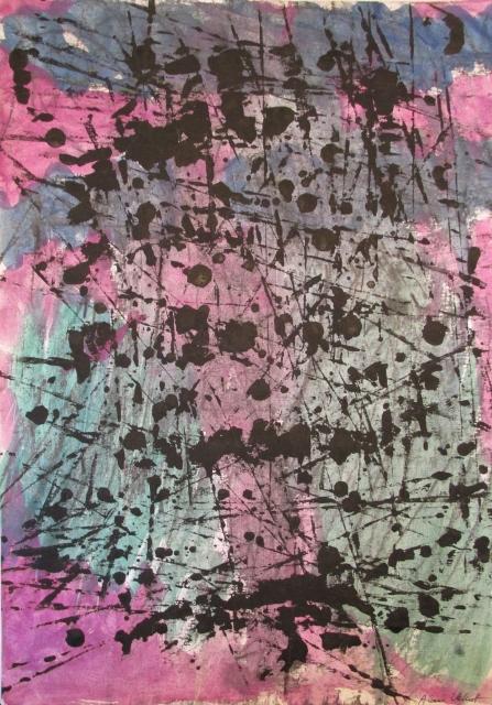 Alan Velvet, European Visual Artist, Balken backdrop, 2015 - Acryl on Paper - 29,7x42cm