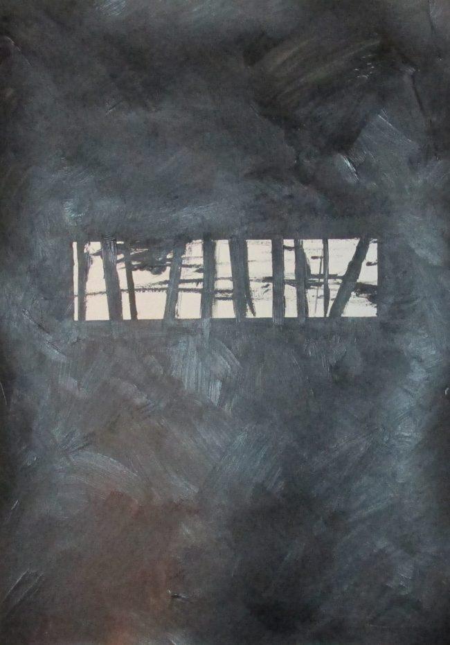 Alan Velvet, European Visual Artist, Balken monochrome, 2016 - Acryl on Paper - 29,7x42cm