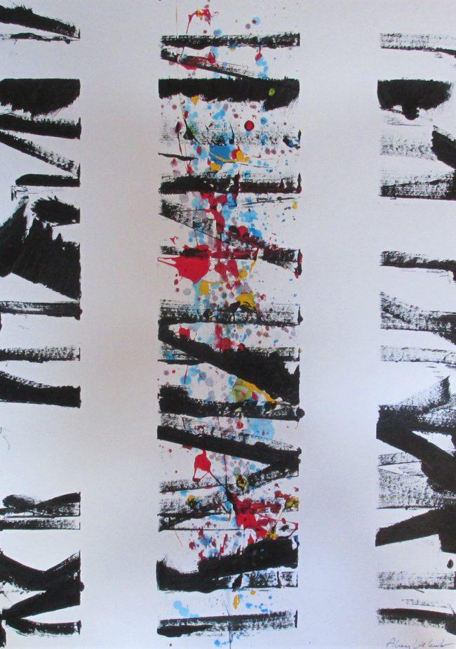 Alan Velvet, European Visual Artist, untitled Balken, 2016 - Acryl on Paper - 29,7x42cm