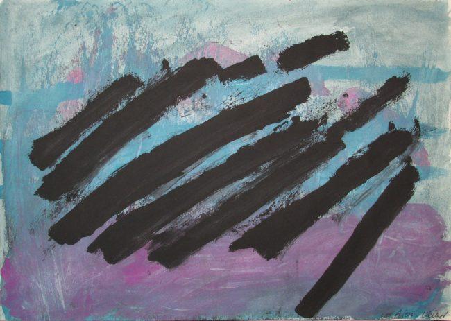 Alan Velvet, European Visual Artist, Balken setting, 2015 - Acryl on Paper - 29,7x42cm