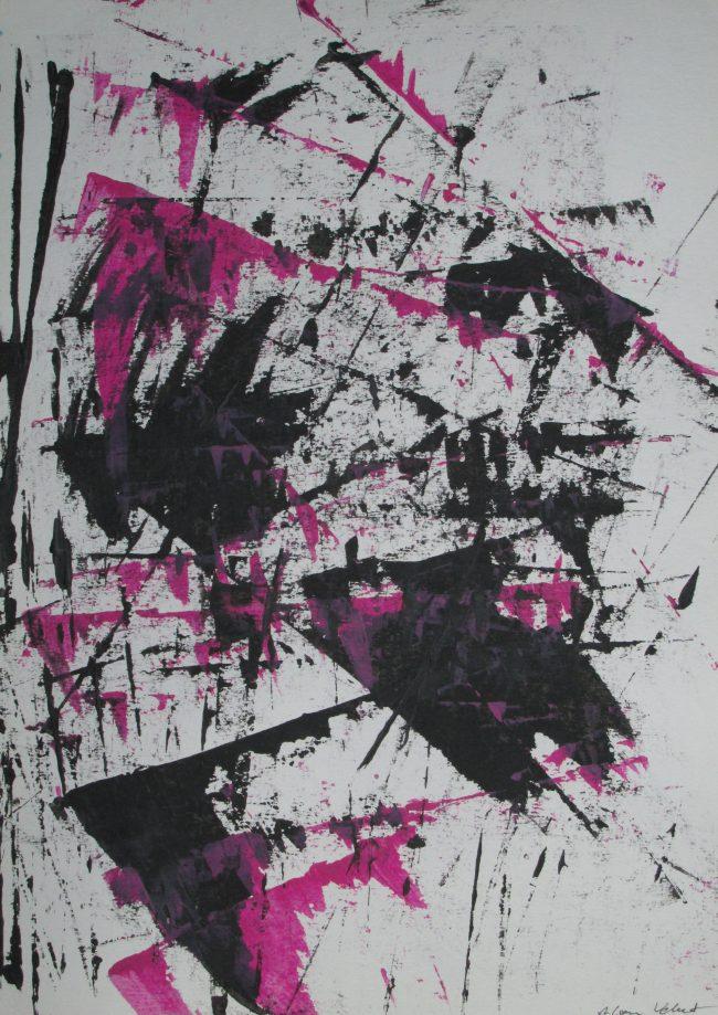 Alan Velvet, European Visual Artist, Compounding Balken #1, 2015 - Acryl on Paper - 29,7x42cm