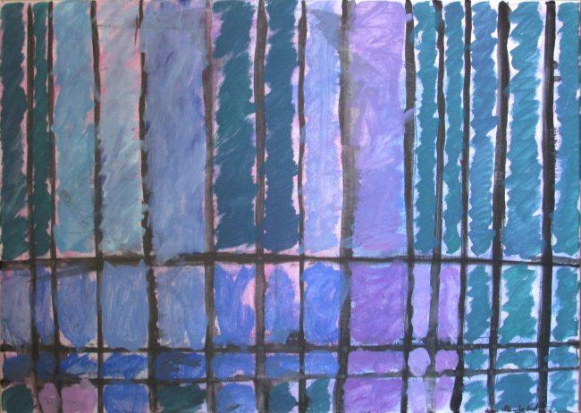 Alan Velvet, European Visual Artist, Caged blury Balken, 2015 - Acryl on canvas - 50x70 cm